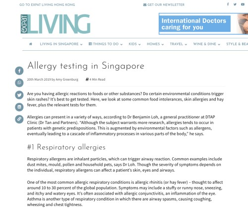 Allergy testing in Singapore