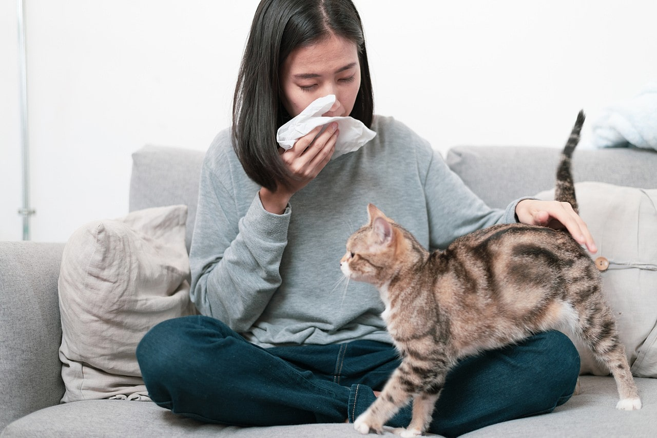 Picture of a lady suffering from pet allergy